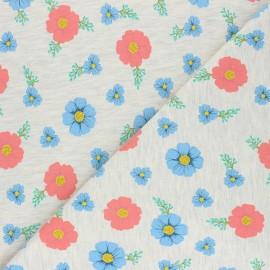 Poppy Mocked Sweatshirt fabric - light grey flowers B x 10cm