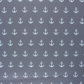 Poppy Coated cretonne cotton fabric - grey Anchor Party x 10cm