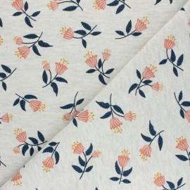 Poppy Mocked Sweatshirt fabric - raw flowers C x 10cm