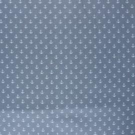 Poppy Coated cretonne cotton fabric - grey Marine x 10cm