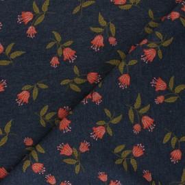 Poppy Mocked Sweatshirt fabric - dark grey flowers C x 10cm