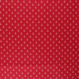 Tissu coton cretonne enduit Poppy Marine - rouge x 10cm