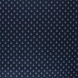 Poppy Coated cretonne cotton fabric - night blue Marine x 10cm