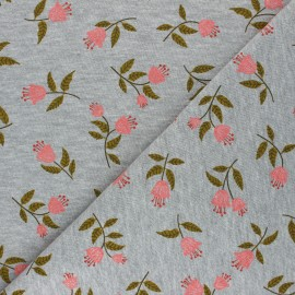 Poppy Mocked Sweatshirt fabric - mouse grey flowers C x 10cm