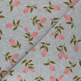 Tissu sweat chiné Poppy Flowers C - gris souris x 10cm