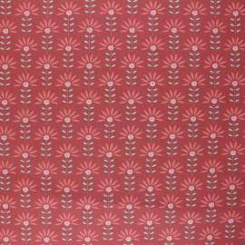 Poppy Coated cretonne cotton fabric - terracotta Floral Fantasy x 10cm