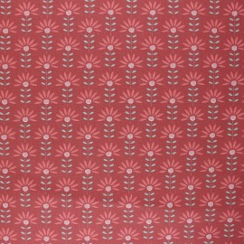 Tissu coton cretonne enduit Poppy Floral Fantasy - terracotta x 10cm