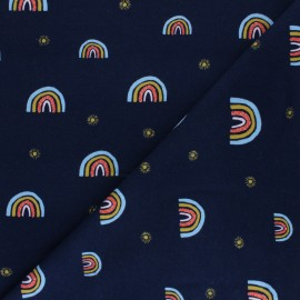 Poppy Sweatshirt fabric - navy blue Rainbow x 10cm
