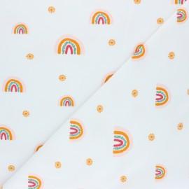 Poppy Sweatshirt fabric - white Rainbow x 10cm
