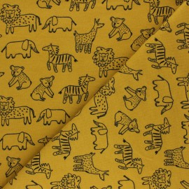 Poppy Sweatshirt fabric - mustard yellow Happy Animals x 10cm