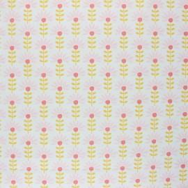 Poppy Coated cretonne cotton fabric - white Floral Fantasy C x 10cm