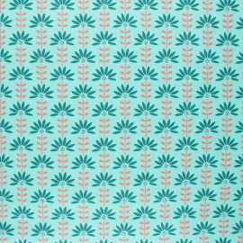 Poppy Coated cretonne cotton fabric - aqua green Floral Fantasy C x 10cm