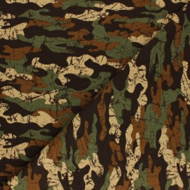 Poppy French Terry fabric - brown Army Camouflage x 10cm