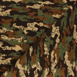 Tissu sweat léger Poppy Army Camouflage - marron x 10cm