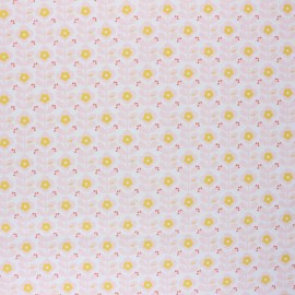 Poppy Coated cretonne cotton fabric - white Floral Fantasy B x 10cm