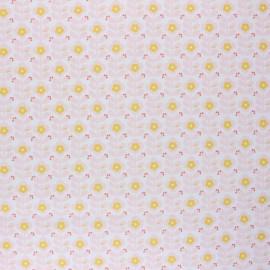 Tissu coton cretonne enduit Poppy Floral Fantasy B - blanc x 10cm