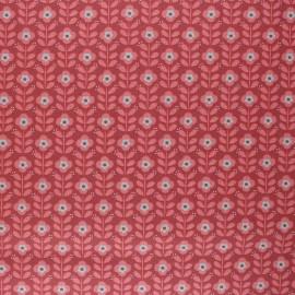 Poppy Coated cretonne cotton fabric - terracotta Floral Fantasy B x 10cm