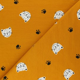 Poppy French Terry fabric - mustard yellow Tiger Head x 10cm