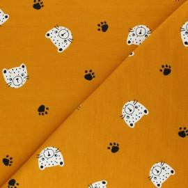 Tissu sweat léger Poppy Tiger Head - jaune moutarde x 10cm