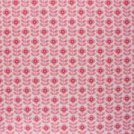 Poppy Coated cretonne cotton fabric - pink Floral Fantasy B x 10cm