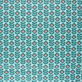 Poppy Coated cretonne cotton fabric - aqua green Floral Fantasy B x 10cm
