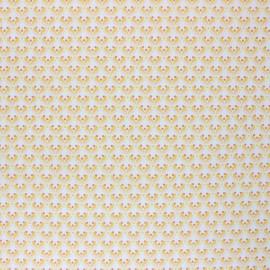Poppy Coated cretonne cotton fabric - white Floral Fantasy x 10cm