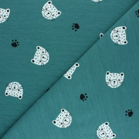 Poppy French Terry fabric - lagoon blueTiger Head x 10cm