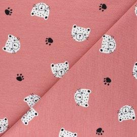 Poppy French Terry fabric - pink Tiger Head x 10cm