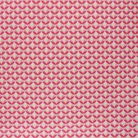 Poppy Coated cretonne cotton fabric - pink Floral Fantasy x 10cm
