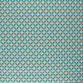 Tissu coton cretonne enduit Poppy Floral Fantasy  - vert d'eau x 10cm