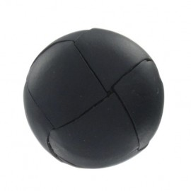Genuine leather button - black
