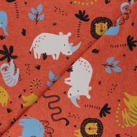 Mottled Poppy Jersey fabric - orange Wild Animals x 10cm