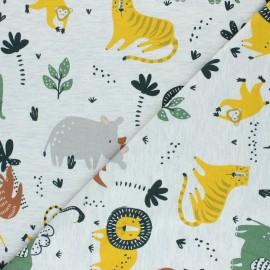 Mottled Poppy Jersey fabric - raw Wild Animals x 10cm