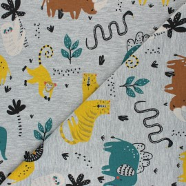 Mottled Poppy Jersey fabric - light grey Wild Animals x 10cm