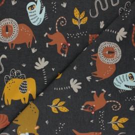 Mottled Poppy Jersey fabric - dark grey Wild Animals x 10cm