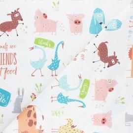 Cretonne Cotton fabric - white Animal friends x 10cm