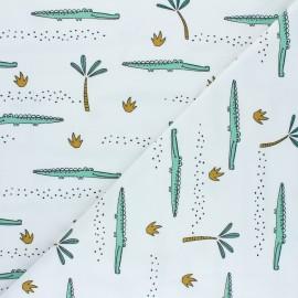 Tissu jersey Poppy Crocodile A - blanc x 10cm