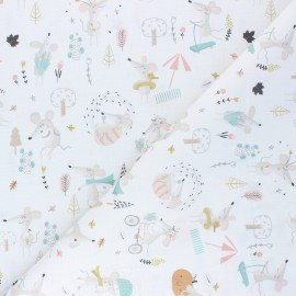 Cretonne Cotton fabric - white Mimi la souris x 10cm