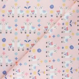 Cretonne Cotton fabric - pink Lara le lama x 10cm