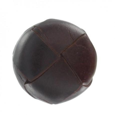 Bouton cuir véritable brun-rouge