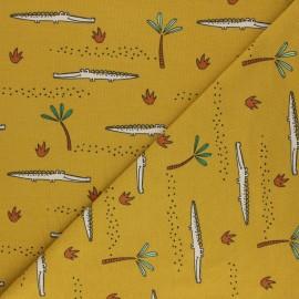Tissu jersey Poppy Crocodile A - jaune moutarde x 10cm