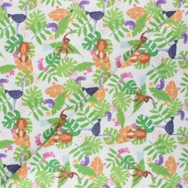 Tissu coton cretonne Jungle animals - blanc x 10cm