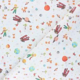 Cretonne Cotton fabric - white Le Monde du Petit Prince x 10cm
