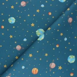 Cretonne Cotton fabric - petrol blue L'Univers x 10cm