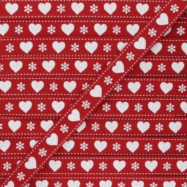 Ruban Gros Grain Christmas love 15 mm - rouge x 1m
