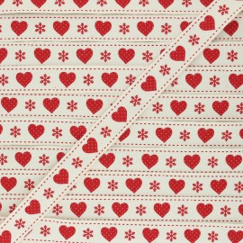 15 mm Grosgrain Ribbon - raw Christmas love x 1m