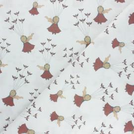 Cretonne Cotton fabric - white Le Petit Prince volant x 10cm