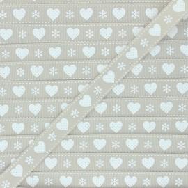 15 mm Grosgrain Ribbon - beige Christmas love x 1m