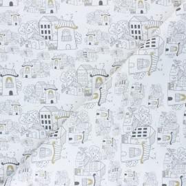 Tissu coton cretonne Quartier résidentiel - blanc x 10cm