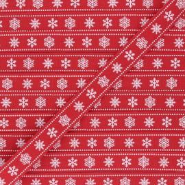 15 mm Grosgrain Ribbon - red Flocons x 1m